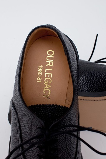Our Legacy Cap Toe Black Grain Shoe for Tres Bien